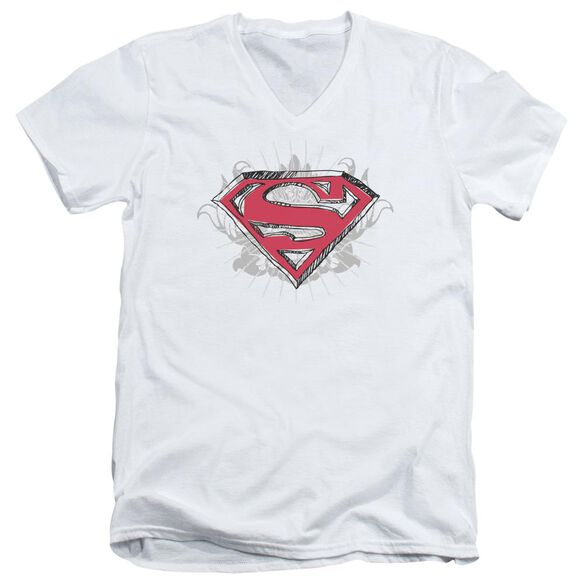 Superman Hastily Drawn Shield Short Sleeve Adult V Neck T-Shirt