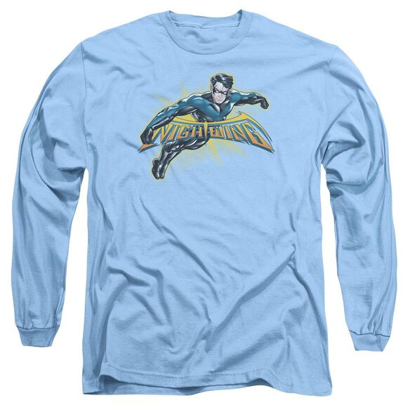 Batman Nightwing Burst Long Sleeve Adult Carolina T-Shirt