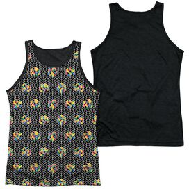 Rubiks Cube Black And Adult Poly Tank Top Black Back