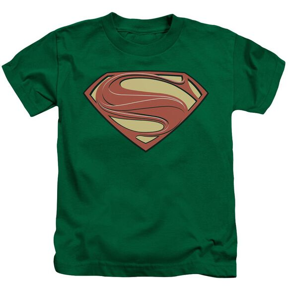 Man Of Steel New Solid Shield Short Sleeve Juvenile Kelly Green T-Shirt
