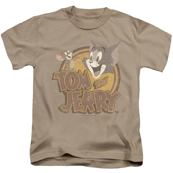 Tom And Jerry Water Damaged Short Sleeve Juvenile Sand T-Shirt