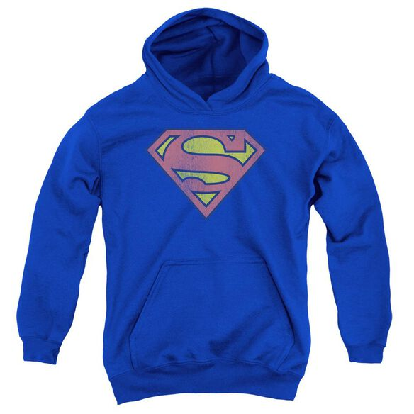 Dc Retro Supes Logo Distressed Youth Pull Over Hoodie