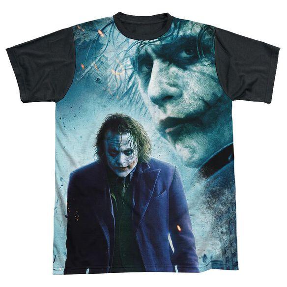 Dark Knight Gothams Chaos Short Sleeve Adult Front Black Back T-Shirt