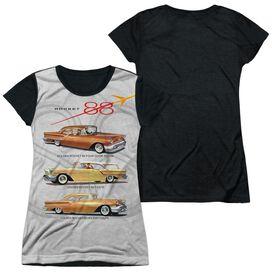 Oldsmobile Rocket Line Short Sleeve Junior Poly Black Back T-Shirt