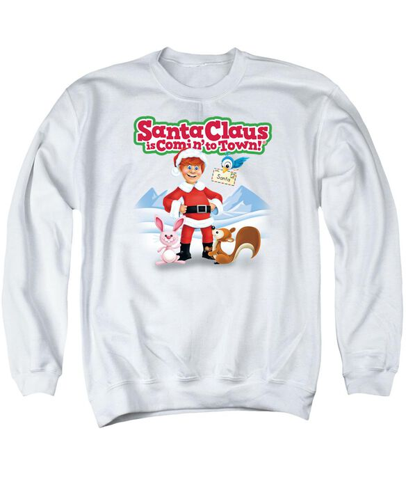 Santa Claus Is Comin To Town Animal Friends Adult Crewneck Sweatshirt