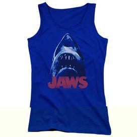 Jaws From Below - Juniors Tank Top - Royal Blue