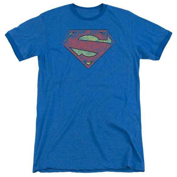 Superman New 52 Shield Adult Heather Ringer Royal Blue