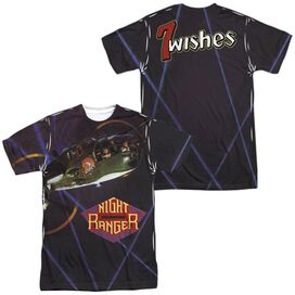 Night Ranger 7 Wishes (Front Back Print) Short Sleeve Adult Poly Crew T-Shirt