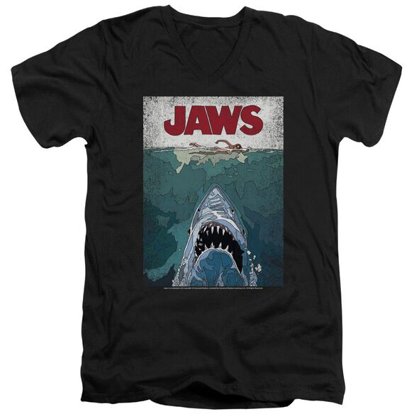 Jaws Lined Poster Short Sleeve Adult V Neck T-Shirt