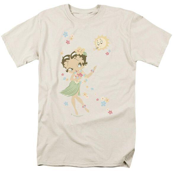 Betty Boop Hula Flowers Short Sleeve Adult Cream T-Shirt