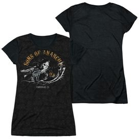 Sons Of Anarchy Reaper Repeat Short Sleeve Junior Poly Black Back T-Shirt