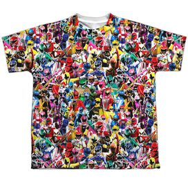Power Rangers Crowd Of Rangers Short Sleeve Youth Poly Crew T-Shirt