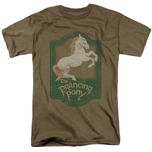 Lor Prancing Pony Sign Short Sleeve Adult Safari Green T-Shirt