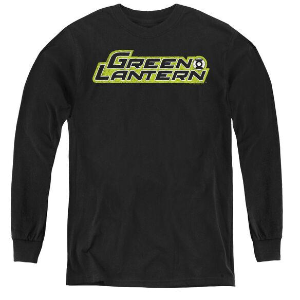 Green Lantern Scribble Title - Youth Long Sleeve Tee - Black