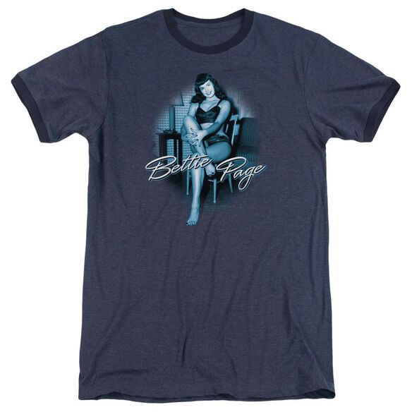 Bettie Page Patient Pin Up Adult Heather Ringer Navy
