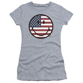 Smiley World American Flag Face Short Sleeve Junior Sheer Athletic T-Shirt