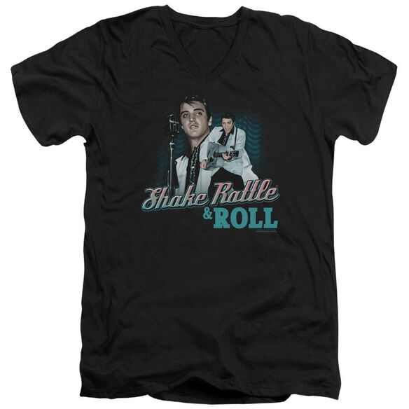 Elvis Shake Rattle & Roll Short Sleeve Adult V Neck T-Shirt