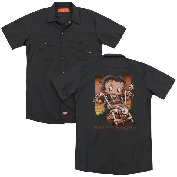 Betty Boop Sunset Rider (Back Print) Adult Work Shirt
