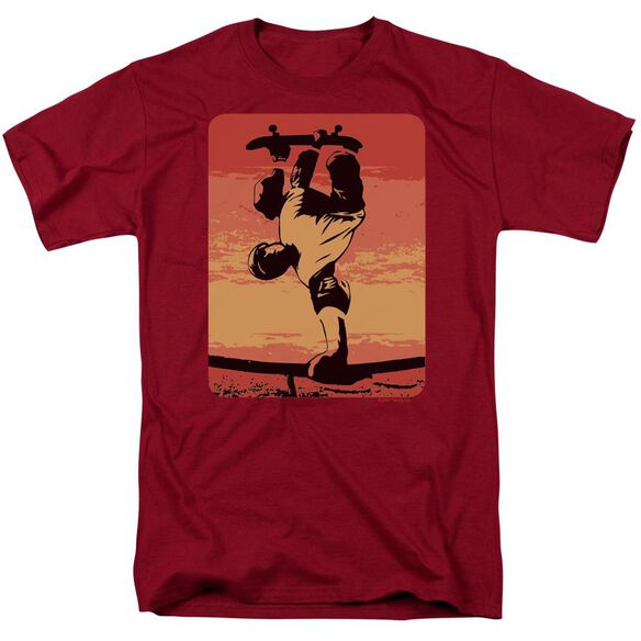 Skater On Rail Short Sleeve Adult Cardinal T-Shirt