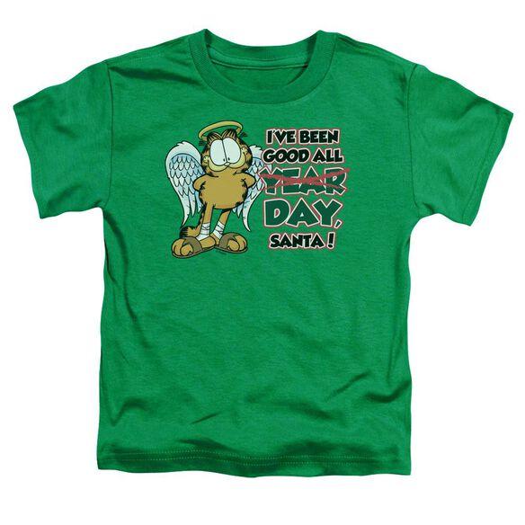Garfield I've Been Good Short Sleeve Toddler Tee Kelly Green T-Shirt