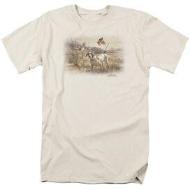 Wildlife Pointer & Bobwhite Quail Short Sleeve Adult Cream T-Shirt