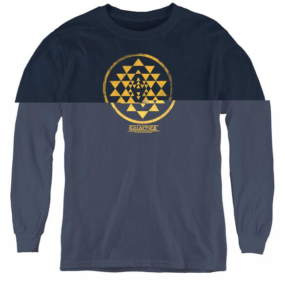 Bsg Gold Squadron Patch - Youth Long Sleeve Tee - Navy
