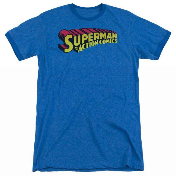 Superman Superman In - Adult Heather Ringer - Royal Blue