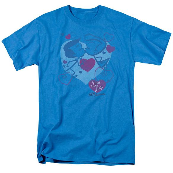 I Love Lucy Cartoon Kiss Short Sleeve Adult Turquoise T-Shirt
