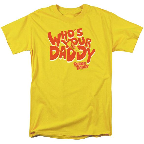 Tootsie Roll Who's Your Daddy Short Sleeve Adult Yellow T-Shirt