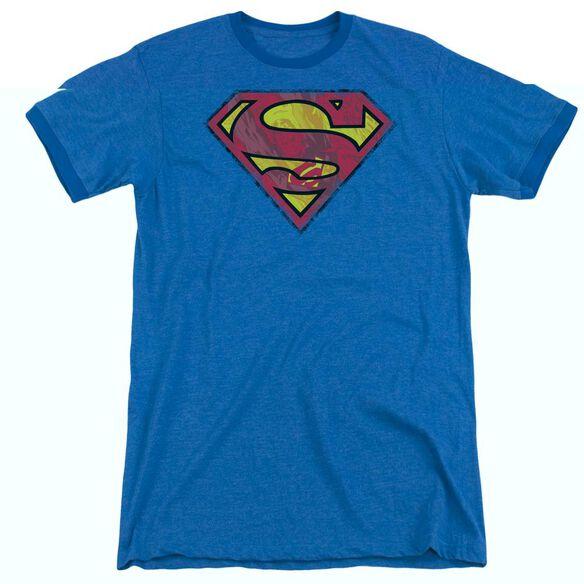 Superman Action Shield - Adult Heather Ringer -