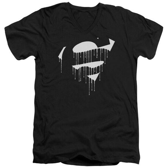 Superman Dripping Shield Short Sleeve Adult V Neck T-Shirt