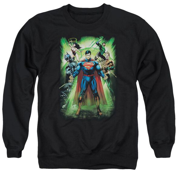 Jla Power Burst Adult Crewneck Sweatshirt