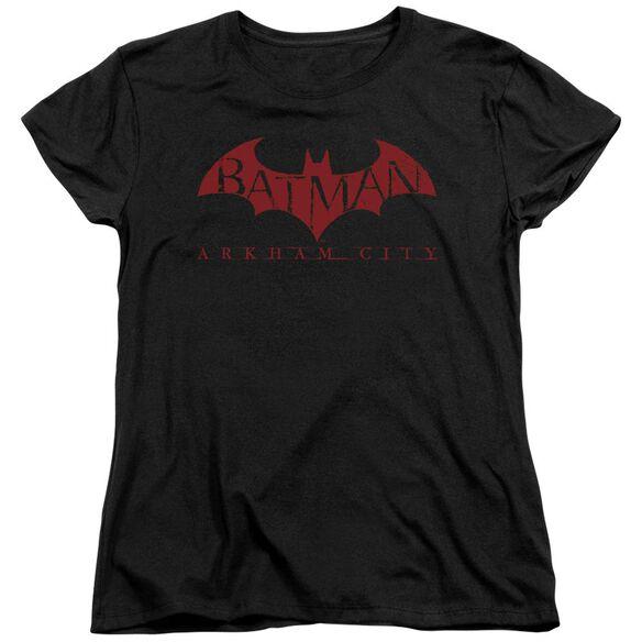 ARKHAM CITY RED BAT - S/S WOMENS TEE - BLACK T-Shirt