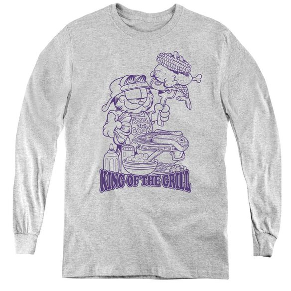 Garfield King Of The Grill - Youth Long Sleeve Tee - Athletic Heather