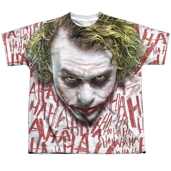 Dark Knight Joker Face Short Sleeve Youth Poly Crew T-Shirt