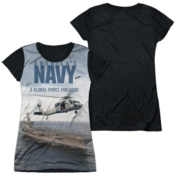 Navy Over And Under Short Sleeve Junior Poly Black Back T-Shirt