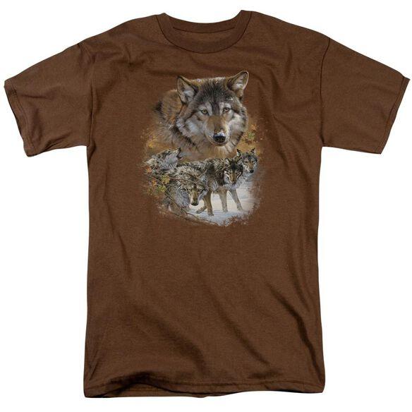 Wildlife Wolf Pack Short Sleeve Adult Coffee T-Shirt