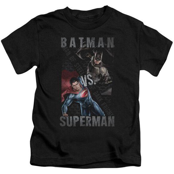 Batman Vs Superman Hero Split Short Sleeve Juvenile Black T-Shirt