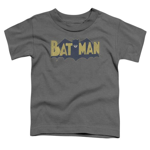 Batman Vintage Logo Splatter Short Sleeve Toddler Tee Charcoal Sm T-Shirt