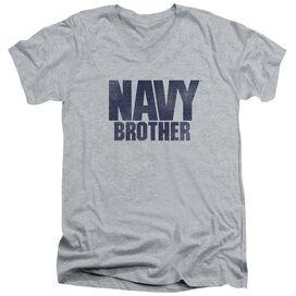 Navy Brother Short Sleeve Adult V Neck Athletic T-Shirt