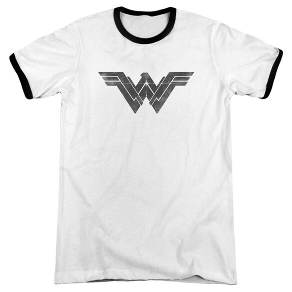 Batman V Superman Folded And Distressed Adult Ringer White Black