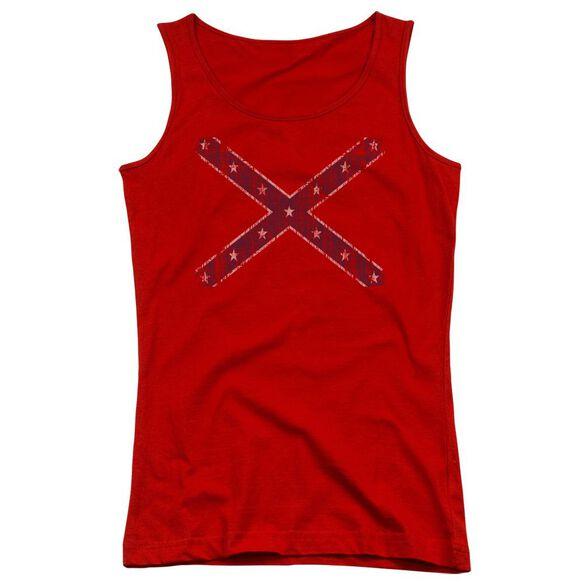 Distressed Rebel Flag Juniors Tank Top