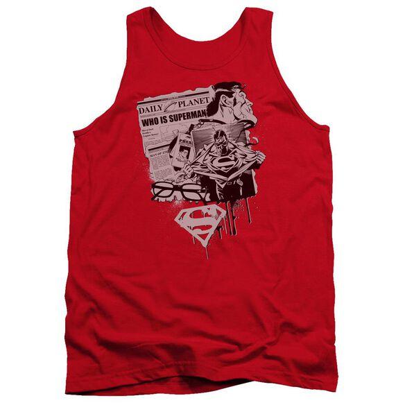 Superman Identity - Adult Tank - Red
