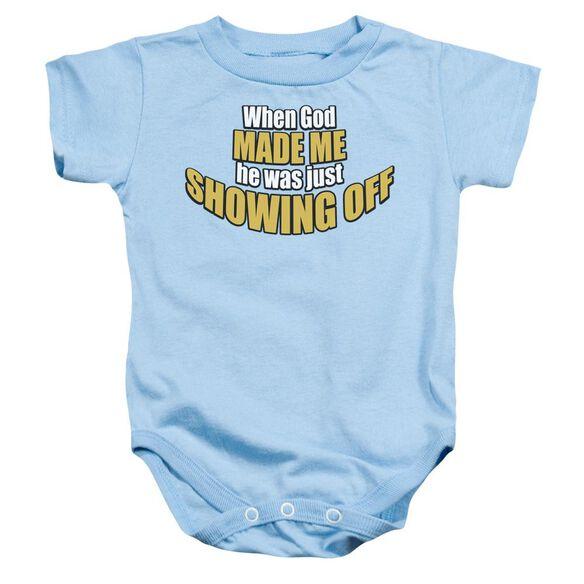 Showing Off Infant Snapsuit Light Blue Sm