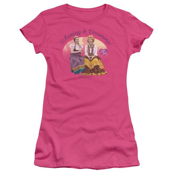I Love Lucy Scheming And Dreaming Short Sleeve Junior Sheer Hot T-Shirt