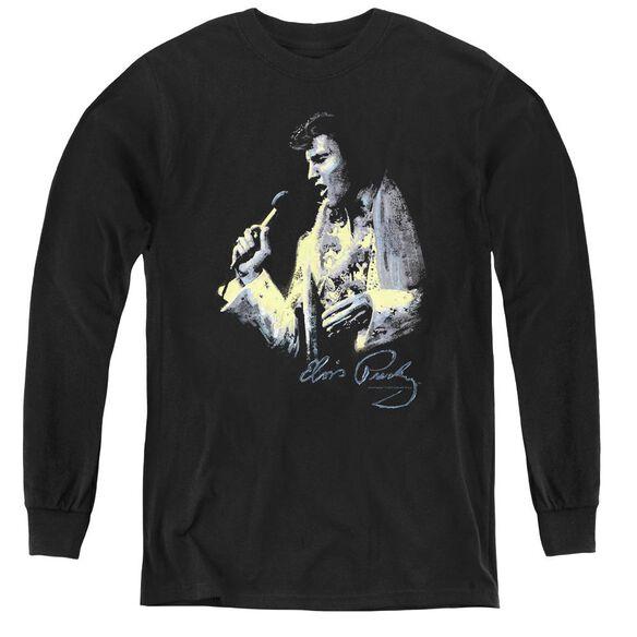 Elvis Presley Painted King - Youth Long Sleeve Tee - Black