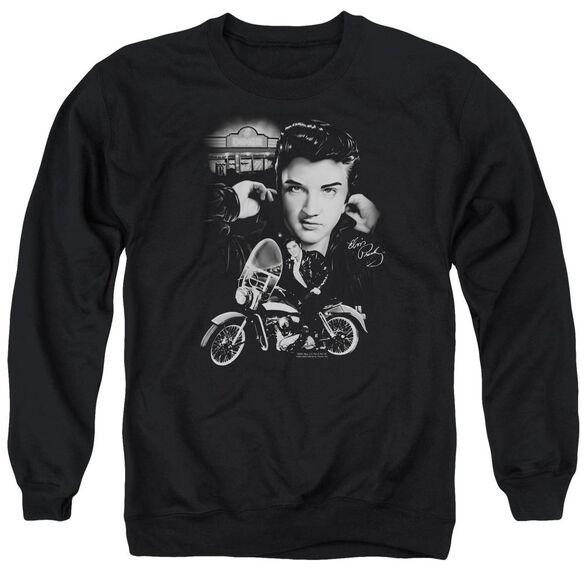Elvis The King Rides Again Adult Crewneck Sweatshirt