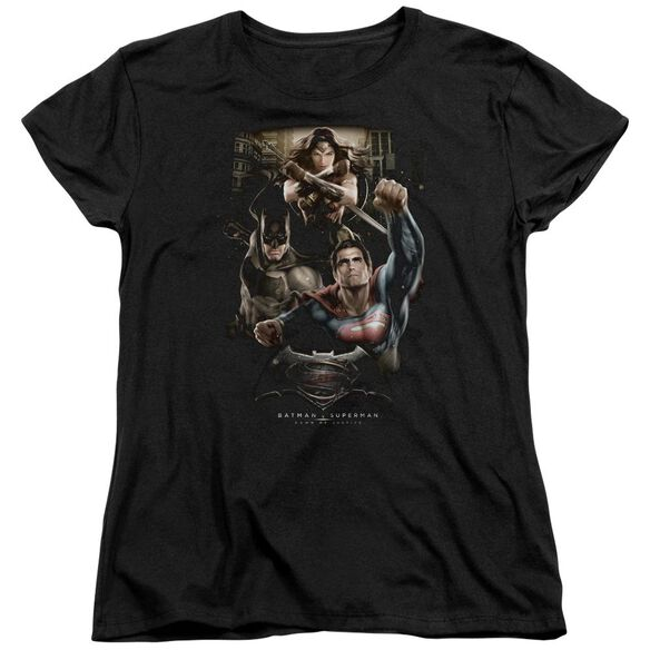 Batman V Superman Three In Action Short Sleeve Womens Tee T-Shirt