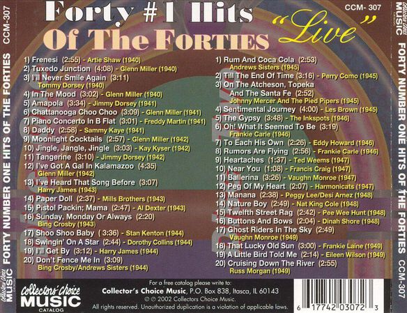 40 #1 Hits Of The 40's