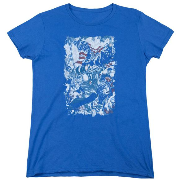 Jla American Justice Short Sleeve Womens Tee Royal T-Shirt